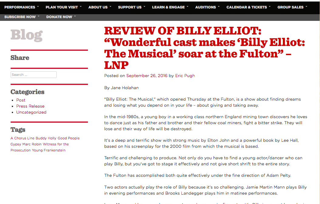 Review of Billy Elliot